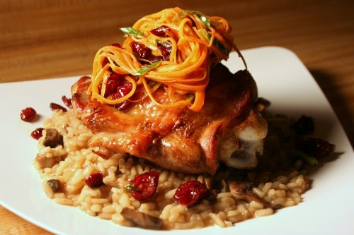 Pan Roasted Turkey Thigh on Mushroom Risotto & Warm Carrot Salad. http ...