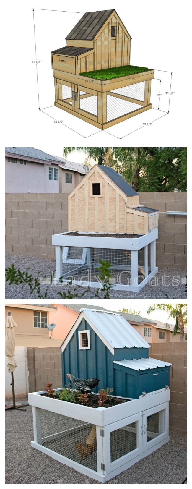 DIY: How to Build a Small Chicken Coop with Planter, Clean Out Tray and Nesting Box - building plans and materials list are on the post - via Ana White