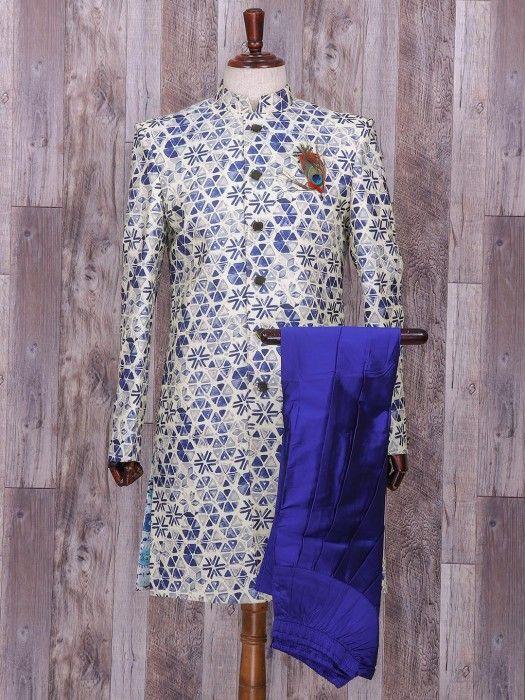 Silk Cream Hue Wedding Wear Indo Western, silk, groom, mens fashion, wedding, printed