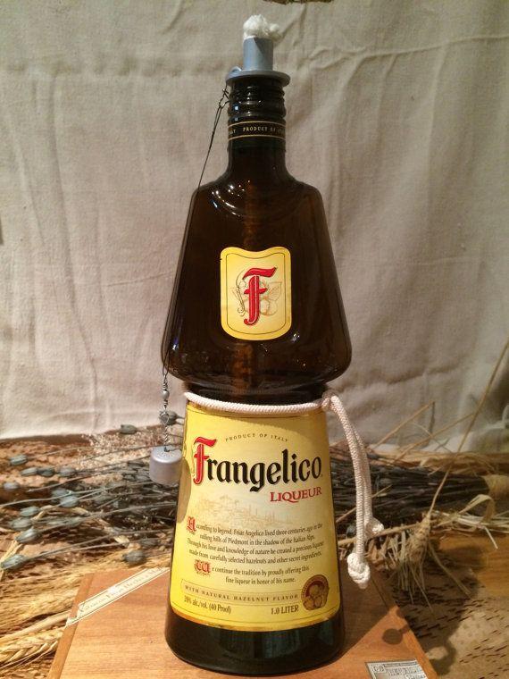 Frangelico Liqueur Bottle Tabletop Tiki Torch By IBottleCrafts