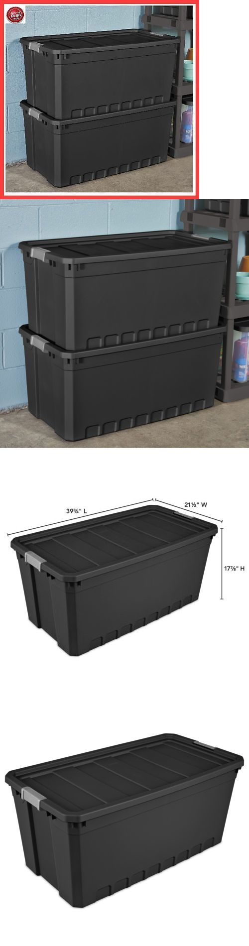 Storage Boxes 159897: 3Pc Plastic Storage Containers Large Black 50 Gallon Stacking Bin Box Tote W Lid -> BUY IT NOW ONLY: $62.02 on eBay!