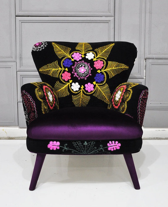 Patchwork armchair with Suzani and velvet by namedesignstudio, $1500.00