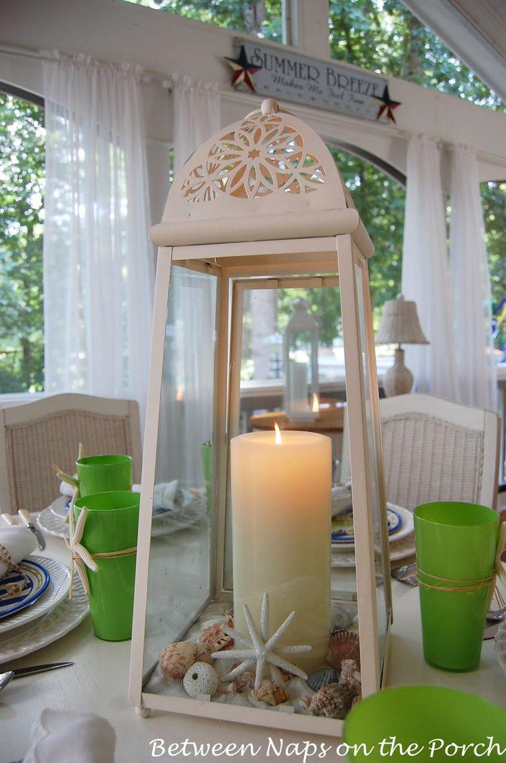White Lantern for Beachy Centerpiece  #homegoodswedding