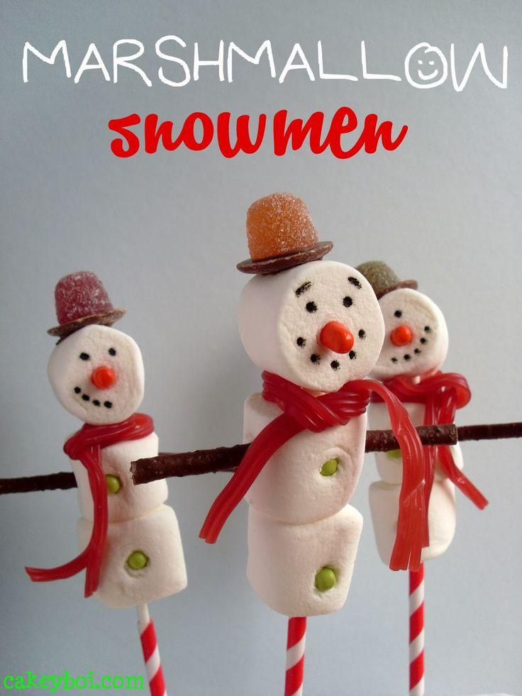Marshmallow Snowmen via @Cakeyboi