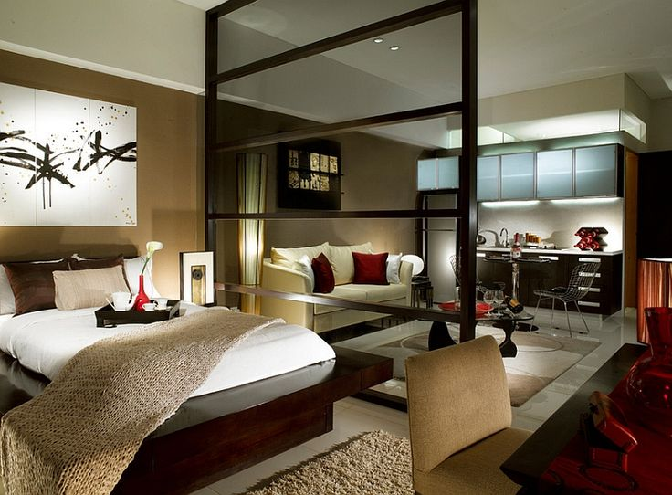 Modern asian style bedroom for a posh studio apartment ...