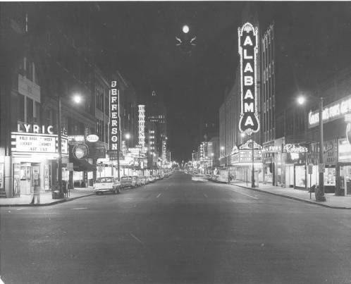 3rd avenue north at night in birmingham alabama black and white photograph of third