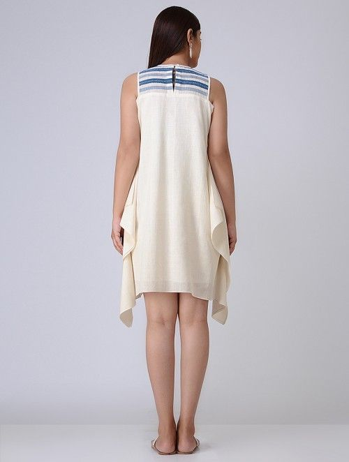 Ivory-Blue Cotton Khadi Dress with Asymmetrical Hem