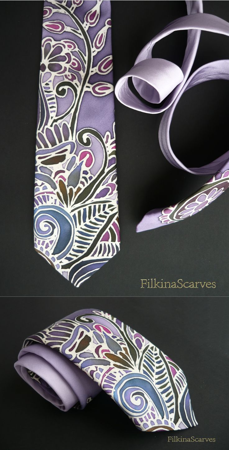 @FilkinaScarves on Etsy= Unique hand-painted lavender tie with stylized floral and leaf ornaments. With use of bee wax technique - the contours have the original ivory color of silk satin.  Fabric is 100% natural silk satin.  The length of the tie is suitable for double knot.#silktie #silkneckties #paintedtie #uniquetie #weddingtie #businesstie #partytie #redtie #flowerstie #luxurytie