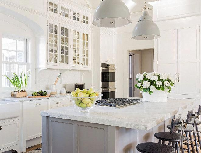 The Kitchen Island Features 2 Inch Thick Super White Leathered