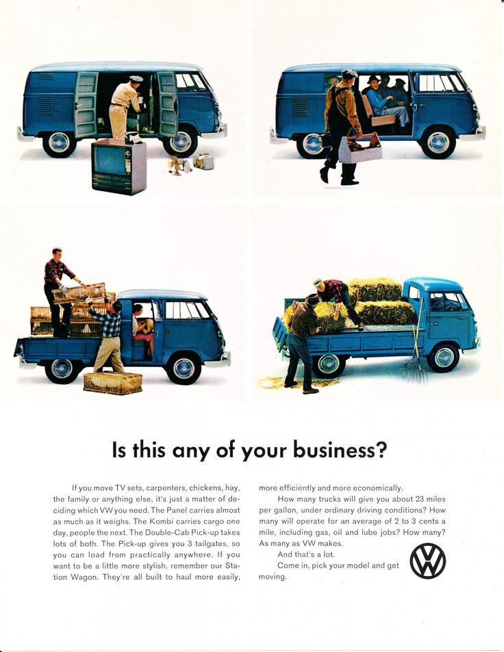 VW marketing - VW Commercial Bus advertisement postcard