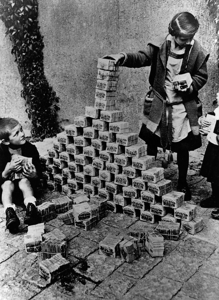 When hyperinflation drove Germans to use money as kindling. In January 1923, a loaf of bread cost 250 marks. In November, it cost 200 trillion. Retronaut/Mashable photo essay.