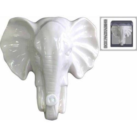 Urban Trends Collection: Ceramic Elephant Head, Polished Chrome Finish, Silver, White