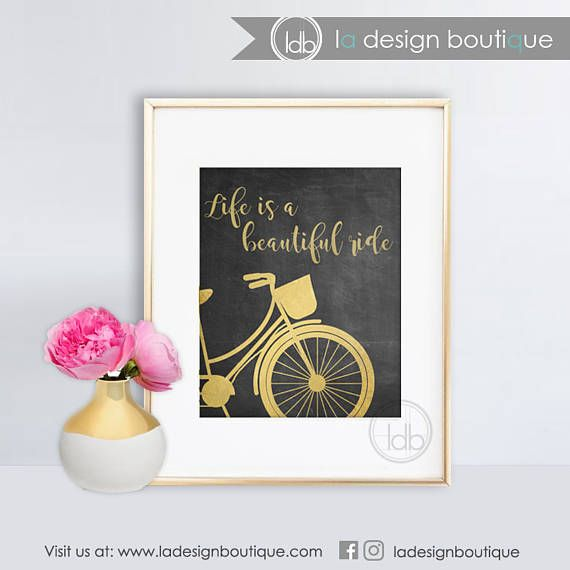 Life is a Beautiful Ride Gold Bicycle Wall Art Wedding gift DIY Only $2.95!