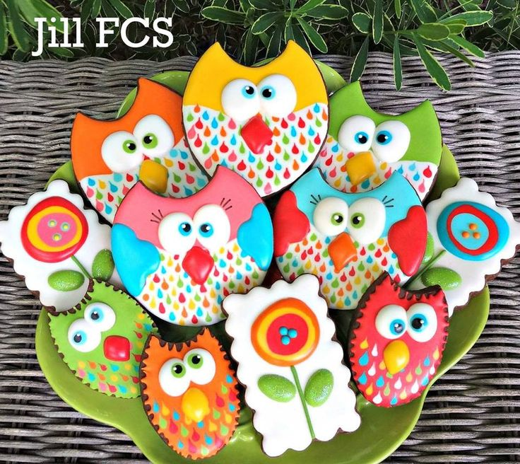 Whimsical, brightly colored owls, flowers, by Jill FCS