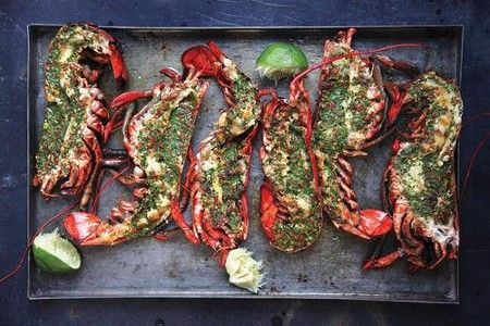 Grilled lobster with cilantro-chile butter - YUM!!