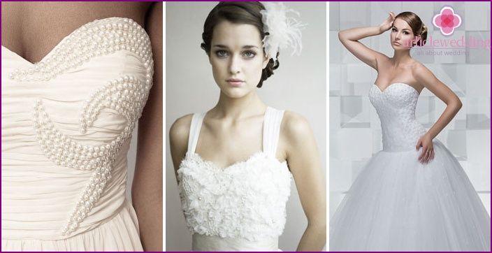 Abiti da sposa con un corsetto di perle - una revisione dei modelli popolari e gli accessori ad essi con le foto