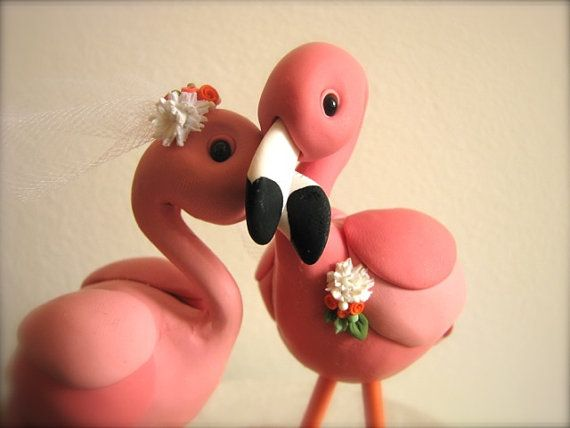 RESERVED custom flamingo wedding cake topper for by theaircastle
