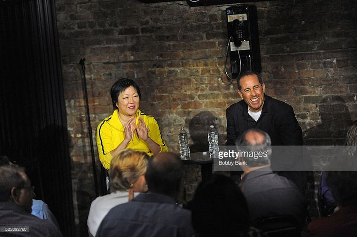 Comedians Jerry Seinfeld and Margaret Cho on stage at The Stress Factory Comedy Club on April 21, 2016 in New Brunswick, New Jersey. This 'second chance with the same audience' was engineered by Seinfeld in which the club owner offered free tickets to patrons who previously attended Cho's bad set on March 26, 2016.