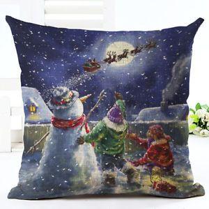 Cotton-Linen-Christmas-Xmas-Sofa-Waist-Cushion-Cover-Car-Pillow-Case-Cover-Gift