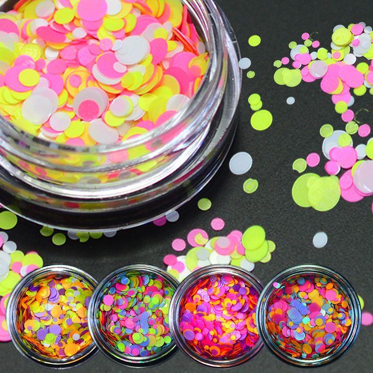 Buy 1g NEW Mixed Round Nail Art Glitter Decoration Colorful Luminous Mini Mixed Thin Paillette Design Nail Tip Bottle DIY P25-35 at JacLauren.com