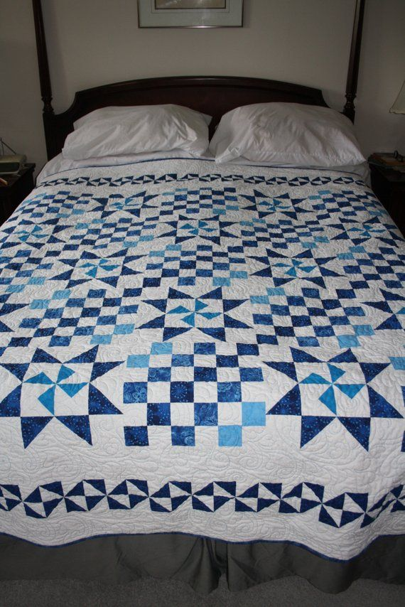 Queen Quilt Blue White Border Creek Blue Quilts Quilts Queen Size Quilt
