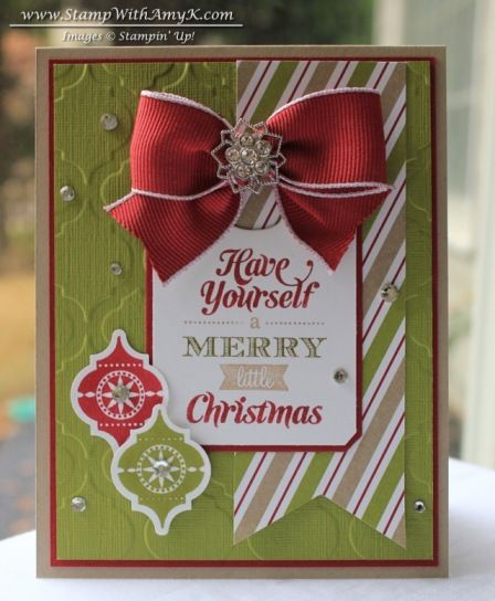 Love this card by Amy K!  Merry Little Christmas and Very Merry tags stamp sets, chalk talk framelits, season of style DSP AND the fabulous Frosted finishes and the wide cherry cobbler ribbon.  Other nice close-up photos on this blog post.