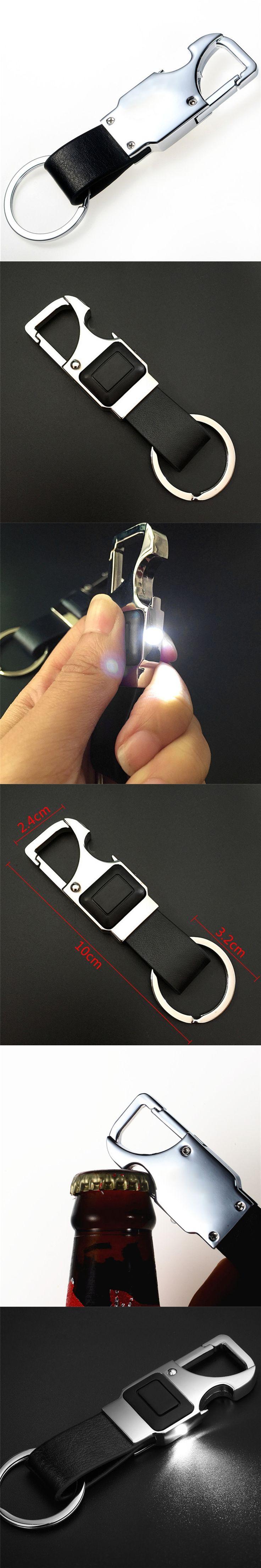 Auto LED Leather Key Chain Metal Car Key Ring Multifunctional Tool Bottle Opener Keychain Key Holder For BMW Audi Chaveiro VW