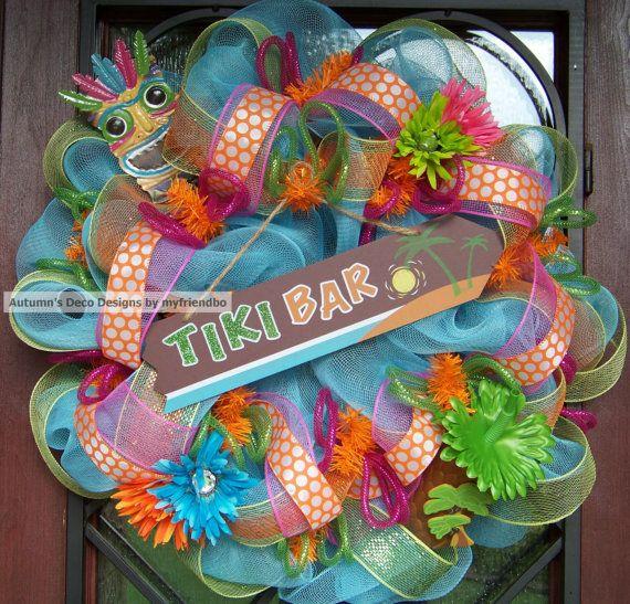 Partytime Fun Outdoor Bar & Kitchen Deco Mesh Summer by myfriendbo,