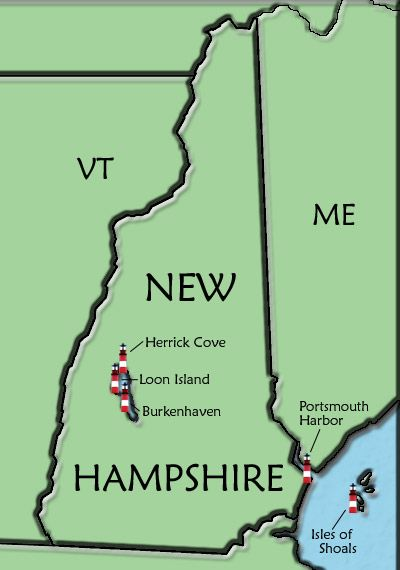 Nh Usa Map.New Hampshire Lighthouse Map Lighthouse S Shine Your Light On
