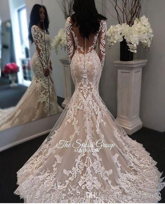 2018 New Illusion Long Sleeves Lace Mermaid Wedding Dresses Tulle Lique Court Sheer Back Covered On Bridal Gowns With Ons Bride