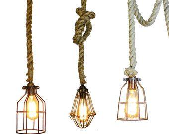 Nice Rope Pendant Light Hardwired or Plug In door HangoutLighting