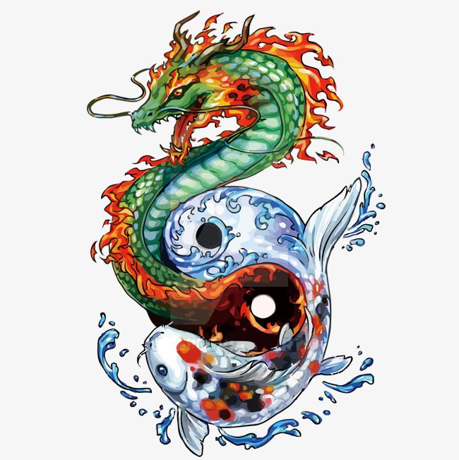 Vector Dragon And Fish Hand Painted Dragon Fish Png Transparent Clipart Image And Psd File For Free Download Dragon Tattoos For Men Japanese Tattoo Meanings Dragon Tattoo Meaning