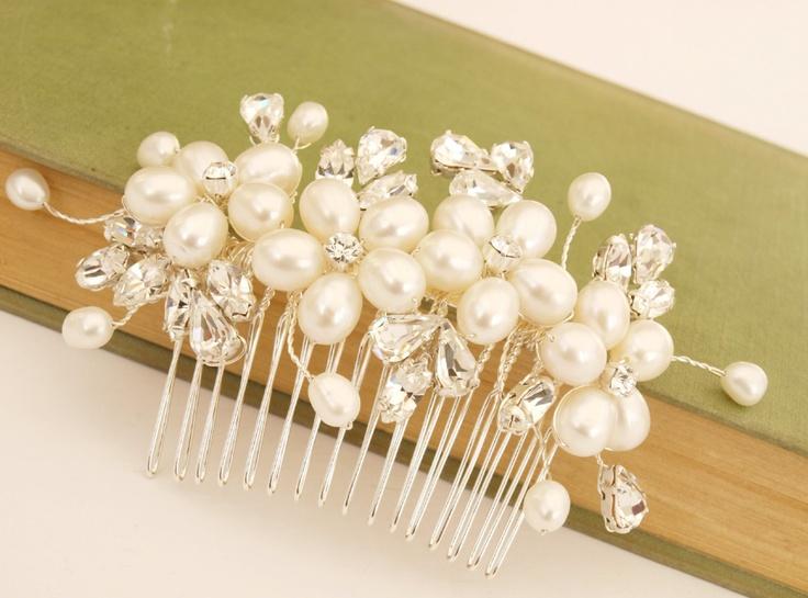 Pearl Hair Comb Flower Hair Accessories White Pearl Bridal Hair Comb Swarovski Rhinestones Wedding Headdress Bridesmaid Accessories. £50.00, via Etsy.