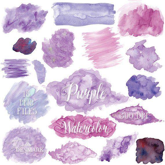 Purple Watercolor Clipart Lavender Lilac Watercolor Clip Art