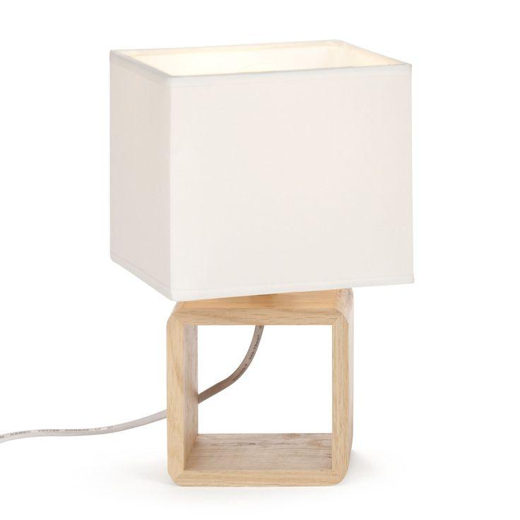 Lampe en bois avec abat jour Blanc - Cubo - Les lampes à poser - Luminaires - Salon et salle à manger - Décoration d'intérieur - #AlineaPE2014