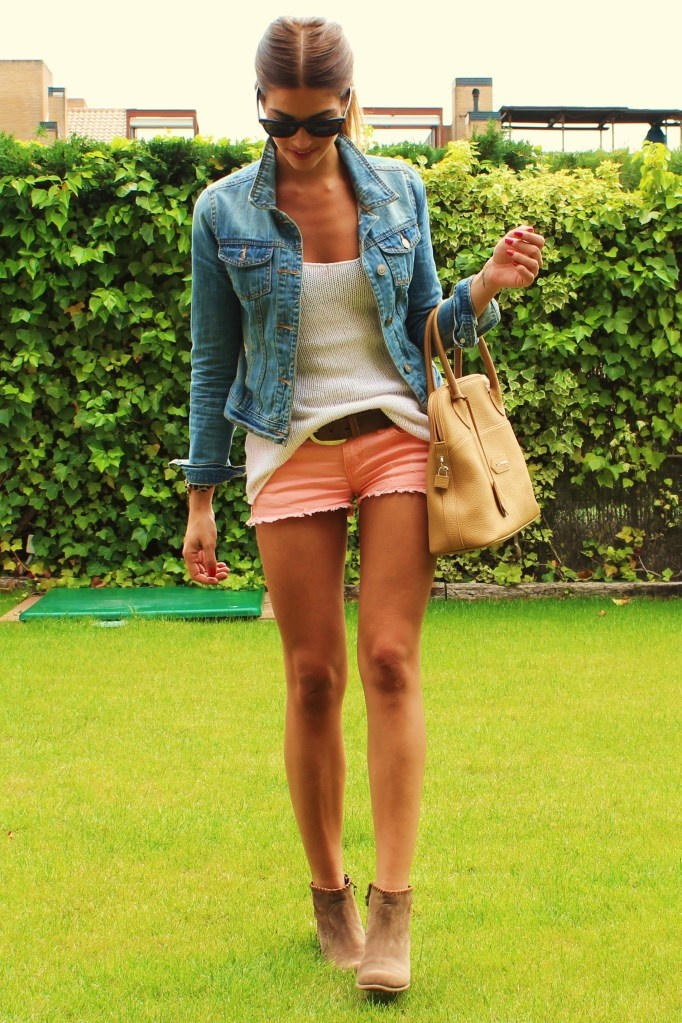 classic look: white tank, denim jacket, coral shorts, tan booties