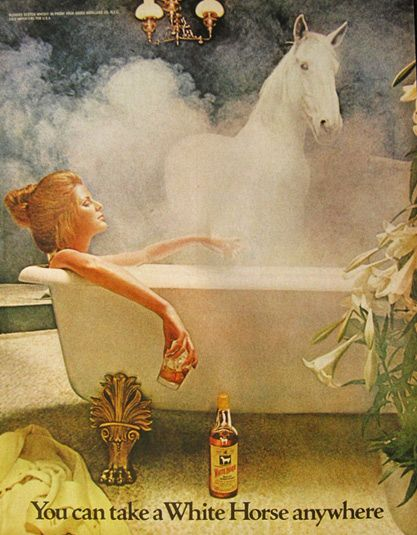1971 White Horse Whiskey Ad ~ Woman in Tub