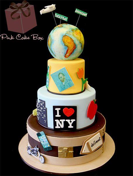 Around the World Birthday Cake by Pink Cake Box