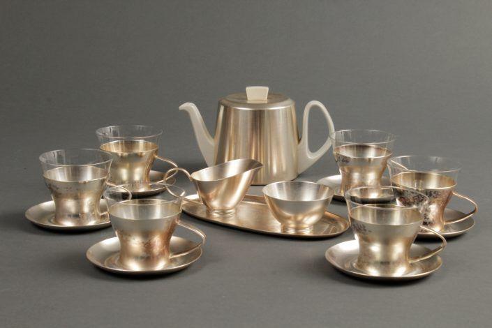 Tee-Service, Porzellan, Glas und Metall, versilbert, WMF, um 1960