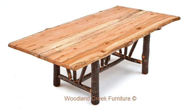 Our Traditional Hickory Log Dining Table Is Handcrafted From Natural  Hickory Logs And Reclaimed Wood Live Edge Slab Tops. Rustic Log Furniture  Custom Made