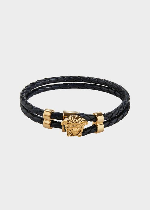 Versace Medusa leather bracelet for Men | Official Website. Medusa Leather Bracelet by Versace for Men's Fashion Jewellery. Inject a touch of Versace's aesthetic to your everyday look with this bracelet. Made in brass and leather it boasts a double braided leather strap and is adorned with the Medusa.