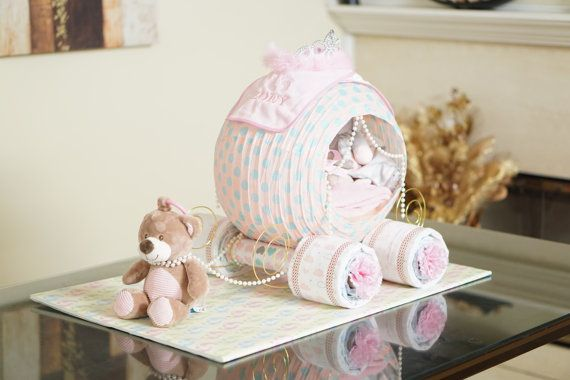 Cinderella Princess Carriage Diaper Cake, Baby Shower Diaper Cake, Fancy Baby Shower Gift