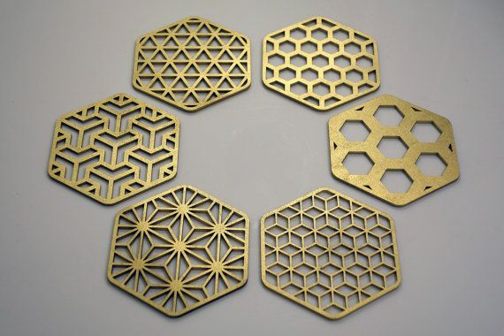 Sacred Geometry Hexagon Honeycomb Coasters by COZODesign on Etsy