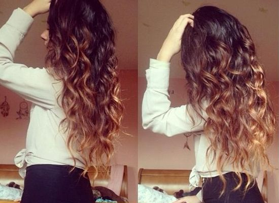 brown and blonde curly hairstyle by clip on wavy brown ombre extension