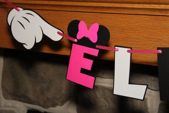 Minnie Name Banner Multi Colored by EmelleeGifts on Etsy