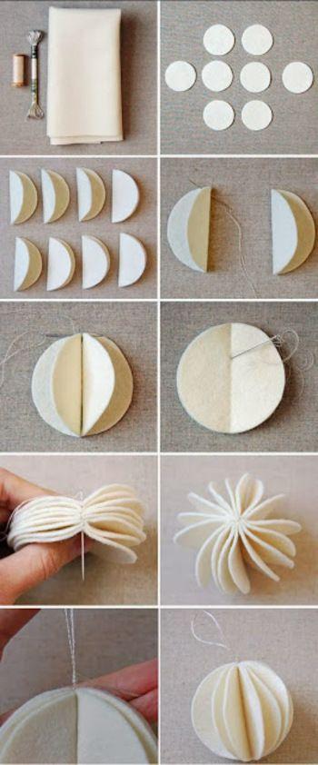 丸く切りぬいたフェルト8枚をそれぞれ半分に折り、折り目に沿って刺繍糸で縫い合わせていきます。 丸くボリュームある雪のようなオーナメントが完成。