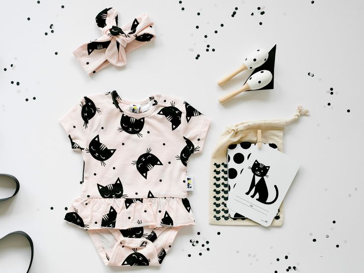 Cool Baby Girl Gift Box | Kool Kitten  featuring Kapow Kids 'Jungle Kitty' frill bodysuit, Bebe Co maracas and Two Little Ducklings High Contrast Flashcards|| Young Willow