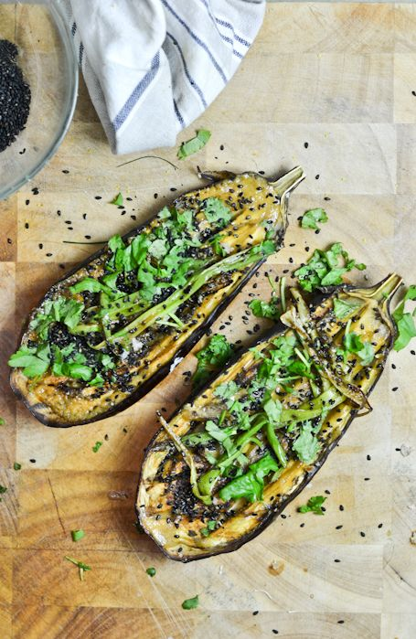 roast eggplant with miso dressing, fried onions, sesame seeds and cilantro