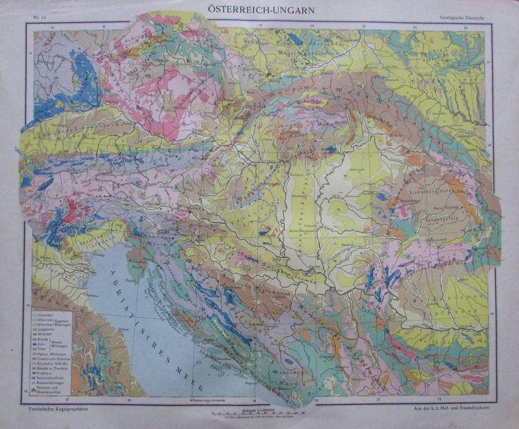 Österreich-Ungarn Geologische Übersicht - 35x29cm Karte aus 1913 old map
