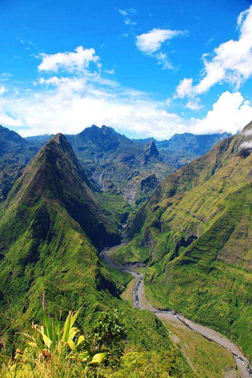 Cirque de Mafate, île de la Réunion, département et région d'outre-mer français.